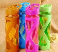 Wholesale Plastic Straw Lid - Wholesale- 580ml Straw Sport Water Bottle Leak Proof Anti Hot With A Plastic Sleeve Fruit Infuser My Drink Bottle Eco-friendly