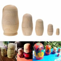 Wholesale Wooden Matryoshka Doll - 5pcs set Unpainted DIY Blank Wooden Russian Nesting Dolls Matryoshka Gift Hand Paint Toys Home Decoration Gifts