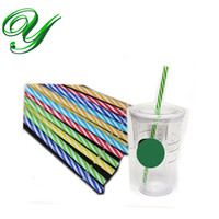 Wholesale Strip Party Straws - Plastic reusable drinking straws for starbuck tumbler hot cold drinks kids party color strip straight 9 inch long cocktail bar supplies