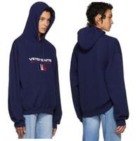 Wholesale Haute Couture - VETEMENTS Nevy Flag Logo Stoner Hoodie homme Women fleece hoody hoodies france haute couture Sweatshirts Clothing