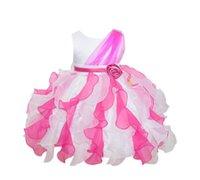ingrosso passo pasquale-Vestiti delle ragazze Petalo Baby Abito pasquale Fiocco Sash Bambini piccoli Abiti da sposa per bambini Principessa formale abiti adatti