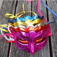 Wholesale Mask Masquerade Halloween Electroplated - Masks Masked ball Party Masquerade Venice Carnival Mardi Gras Costume Wedding decorations Carved Electroplate 2017 Halloween Christmas