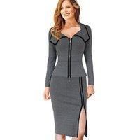 kariyer elbiseleri giydirme toptan satış-Yeni fanshion Womens Vintage Ön Fermuar İş Kariyer Rahat Tunik Kılıf Kalem Bodycon Elbise çalışmak Giyin