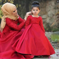 Wholesale muslin long dress - Red Long Sleeves Flower Girls Dresses Children Lace Top Satin toddler pageant dresses Floor Length Zipper Muslin African Kids Party Dress