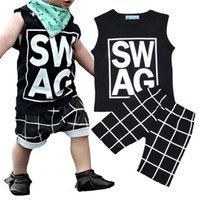 Wholesale sleeveless tops baby boy - Boys Ins Clothing Sets Baby Fashion Suits Infant Casual Outfits Kids Ins Tops Shorts T LG2017