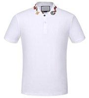 Wholesale High Collar Shop - Shopping! White Solid Polo Shirt Snake Bee Collar Casual Polos For Men Tee Shirts Tops High Quality Cotton Black M-XXXL
