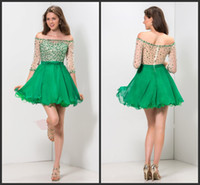 Wholesale Beautiful Unique Prom Dresses - Green Short Party Long Sleeve Elegant Beading Sequin Shiny Prom Zipper Back Iullsion Bodice Sexy Unique Deisgn Mini Wear Beautiful