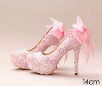 cinderella bows 도매-핑크 레이스 신데렐라 신발 구슬로 페르시 신부 들러리 결혼식 신발 2017 무도회 나이트 클럽 파티 슈퍼 하이힐 손으로 만든