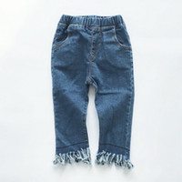 Wholesale Cute Ripped Jeans - Girls Skinny Ripped Jeans Casual Pants Fashion Children Tassel Trousers Baby Clothes Toddler Denim Kids Clothing Cute