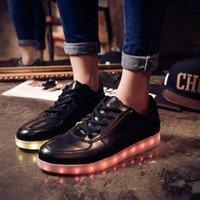 online shopping Led Luminous Shoes - 7 Colors LED luminous shoes unisex sneakers men & women sneakers USB charging light shoes colorful glowing leisure flat shoes black colors