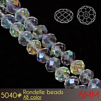Wholesale Crystal White Glass 6mm - China Factory Sale High Quality Crystal Glass Round Faceted Rondelle Beads 6mm AB colors A5040 100pcs set