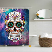 Wholesale Shower Curtains Polyester - Cartoon Colored Skull Design Custom Shower Curtain Bathroom Waterproof Mildewproof Polyester Fabric