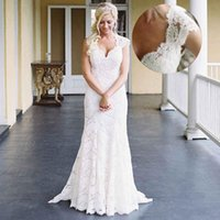 Wholesale Short Western Dresses - Ivory Lace Mermaid Wedding Dresses Short Sleeves V Neck Western Country Wedding Dress With Sexy Open Back Cheap Garden Bridal Gowns On Sale