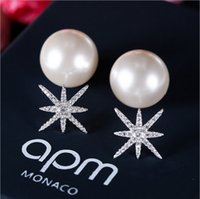 Wholesale Pearl Studs Sterling Silver - Apo monaco new s925 sterling silver star pearl earrings anti - allergic micro - zircon earrings burst free shipping