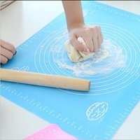 Wholesale Wholesale Cakes Pastries - 40cm*30cm Silicone Rolling Cut Mat Sugarcraft Fondant Clay Pastry Icing Dough Cake Tool 3 Color can Choose