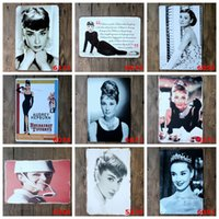 Wholesale Bedroom Wall Sign - Audrey Hepburn Vintage 20*30cm Tin Poster Elegant Beauty Lady Iron Paintings Little Black Dress Metal Tin Sign Bedroom Wall Ornaments 4rjR