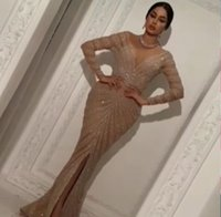 Wholesale Homecoming Dresses Zuhair Murad - Evening dresses 2017 Yousef aljasmi Zuhair murad Labour joisie Charbelzoe Mermaid Long sleeve V-Neck Crystals Long dress