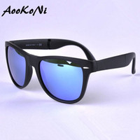 Wholesale Yellow Frame Folding - AOOKONI AK4105 Fold Sunglasses Men Women Foldable Glasses Female Male Hipster Colorful Mirror lens Folding Sun Glasses 50MM 54MM