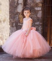 2017 Pink Tulle Flower Girl Dresses Vintage Wedding Square Neck Big Bow Sash Floor-Length Little Child Pageant Party Ball Gowns