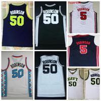 Wholesale United Shipping - Cheap Mens #50 David Robinson Jersey United States Naval Academy USNA David Robinson Basketball Jerseys 100% Stitched Logos Free Shipping