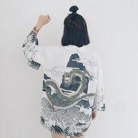 Wholesale Wholesale Chiffon Cardigan - Wholesale- Japanese Vintage novelty summer dragon waves printed chiffon protection cardigan kimono sun shirt women clothing outerwear B5012