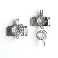 Wholesale Camera Charms For Bracelets - 18KGP Camera Cage Locket, Can Open Pearl Bead Cage Pendant Mounting For DIY Necklace Bracelet Lovely Charms
