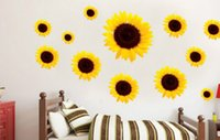 Wholesale Transparent Wall Stickers Children - JM9505 50*70 creative DIY cartoon anime PVC removable wall decoration sunflower children Warm idyllic transparent Wall stickers