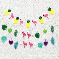 Wholesale Party Graphics - Flamingo And Cocunut Leaves Garland Summer Party Garland Birthday Photo Prop Tropical Luau Pool Hawaiian Party Flamingle Decor 7xl J R