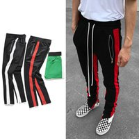 Wholesale Red Justin Bieber - New black red green Colour FOG Justin Bieber style sweatpants men hiphop Slim Fit double striped track pants crawler Leg Zip Vintage Joggers
