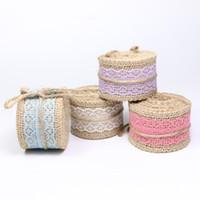 ingrosso nastro di bordo in pizzo-Larghezza 40mm Craft Handmade Iuta tela naturale Lino Ribbon Lace Edge per DIYHeadwear Wedding Party Festive Event Decoration Gift Wrap zd182