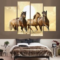 4Panel Modern Horse Canvas Painting 4 Painel Set Abstract Canvas Art Wall Hangings Restaurante Decoração Imagens