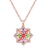 Wholesale swarovski necklace designs - Statement Pendant Neckalce Flower Shape Design AAA Swarovski Crystal Stones Rose Gold Necklace For Women 022-NE0164
