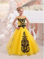 Wholesale Kids Bright Dress - Bright Yellow Flower Girl Dresses 2017 New Style Child Black Applique Floor Length Kids Birthday Pageant Gowns For Teens