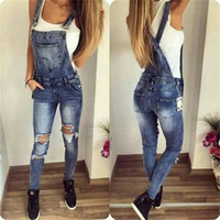 Wholesale Womens Overall Long Pants - New Womens Bodycon Jumpsuit Jeans Denim Rompers Bib Overalls Trousers Pants MDN