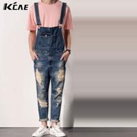 Wholesale Designer Jumpsuit - Wholesale-Fashion Mens Denim Overalls Bib Jeans 2016 Brand Designer Casual Slim Fit Ripped Skinny Jeans Man Denim Jumpsuits Jeans Pants