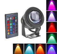 lampara de piscina led 12v al por mayor-Nuevo 2017 10W RGB LED Luz subacuática Impermeable IP68 Fuente Lámpara de la piscina 16 Cambio de colores con 24Key IR remoto