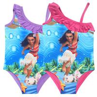 Wholesale Children Swim Wear - Wholesale MOANA girls swimwear cartoon children summer beach wear girl's bath suit one-piece kids swimming wear