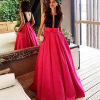 Wholesale Satin Lace Ballgown Wedding Dresses - Two Tone Ballgown Formal Evening Dresses Black Crystal Boat Neck Deep V Open Back with Sash Long Pageant Prom Gowns
