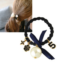 Wholesale Rubber Ropes - Hair Jewelry Black Elastic Rope Black White Enamel Simulated Pearl Flower Bowknot Charm Hairwear Hair Accessories