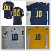 Wholesale Bush Men - Michigan Wolverines College Football #10 Devin Bush 9 Donovan Peoples-Jones 13 Eddie McDoom White Yellow Navy Blue Limited Jerseys S-3XL