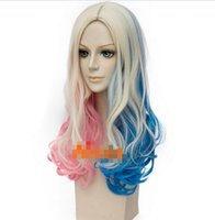 Wholesale Long Curly Blonde Pink Wigs - Free Shipping>>>new vogue Hot Sell!!! Long Curly Cosplay wigs Pink Blue Blonde for Batman Suicide Squad Harley Quinn