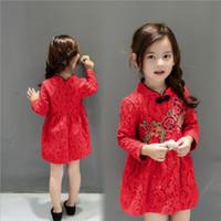 chinês novo ano roupas vermelhas venda por atacado-Estilo chinês vestido da menina do ano novo do bebê meninas roupas bonito bordado vermelho dress crianças floral princesa dress crianças clothing top quality