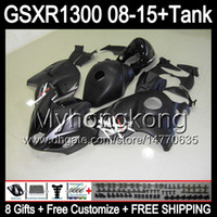 verkleidungssatz gsxr schwarz großhandel-8gifts gloss black Für SUZUKI Hayabusa GSXR1300 08 15 GSXR-1300 14MY180 GSXR 1300 GSX R1300 08 09 10 11 12 13 14 15 gloss black Verkleidungssatz