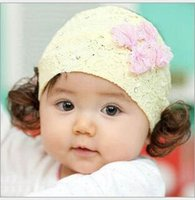 Wholesale Korean Baby Wig - Baby Hair Pieces With Wig Double Bow Korean Children Lace Bow Knot Baby Girls Photography Headbands ,4 Colors