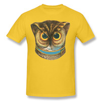 Wholesale Clothing Owl Designs - Vintage Owl 2d printing male clothing pure soft cotton men t shirt short sleeve popular owl designs for street cool boy