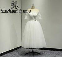 Wholesale Garden Wedding Short - 2017 Bateau Short Wedding Dresses Tea-Length Sheer Half Sleeves Vestidos Bridal Dress Lace Appliques Women Garden Bridal Gown Custom Made