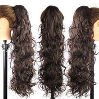 """Wholesale Extensions Clip Auburn 33 - Wholesale- 31"""" Long Claw Clip Drawstring Ponytail Fake Hair Extensions False Hair Pony Tails Horse Tress Curly Synthetic Hairpieces #1B-33"""