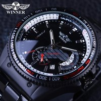 Wholesale Race Display - Winner 2017 Racing Design Black Stainless Steel Calendar Display Sport Mens Watches Top Brand Luxury Watch Automatic Mechanical Watch