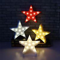 diseña luz nocturna para niños al por mayor-Star Design LED Night Light Lámparas de decoración Funcionamiento con batería LED Light Marquee Sign Cartoon Kids Room Ornament
