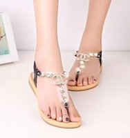 Wholesale Comfortable Party Heels - New Fashion women's sandals female channel rhinestone comfortable flats flip gladiator sandals woman party wedding shoe